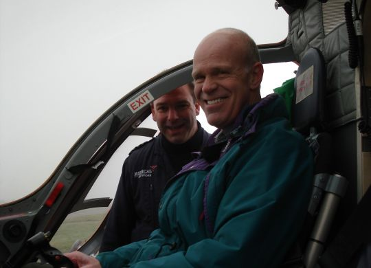 Dave in the pilot seat with Magpas Helimedix Chief Pilot giving him a tour 1