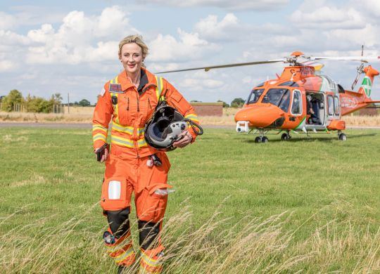 Dr Adriana walking from the Magpas Air AmbulanceLOWRES