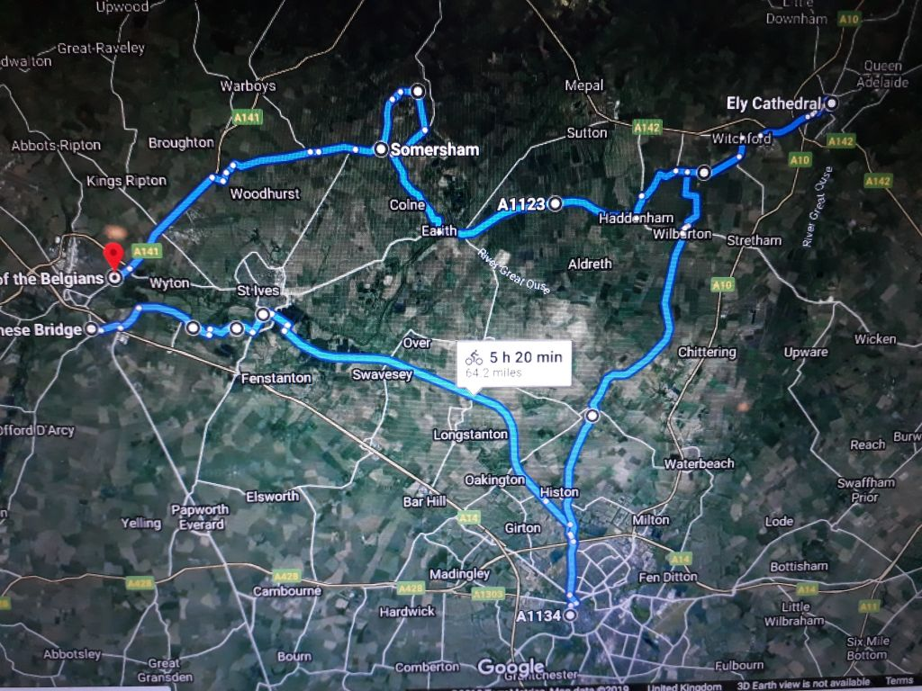 This is the google map of Michael's route for his 100 km Three Kings Challenge