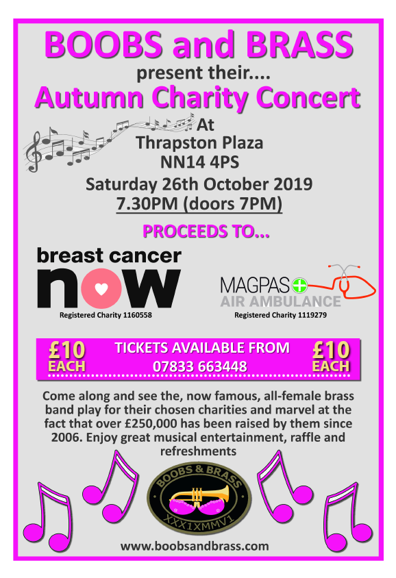 Boobs and Brass Autumn concert in aid of Magpas Air Ambulance