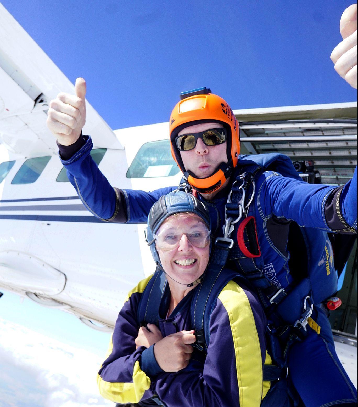 Macca and Nicola Magpas tandem skydive