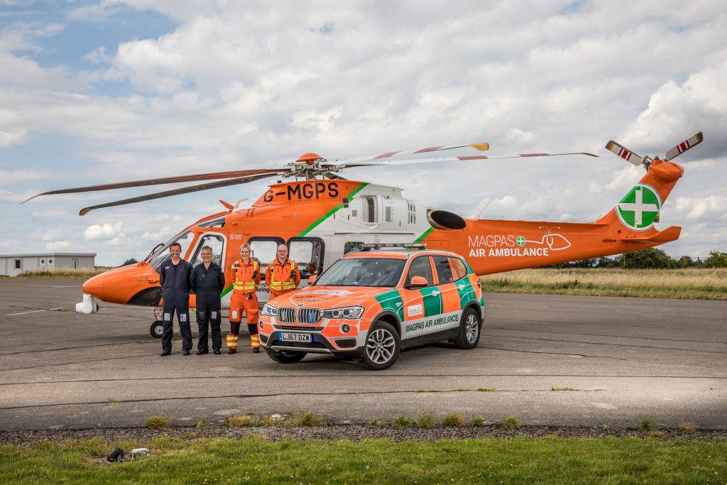 The Magpas Air Ambulance team and vehicles today
