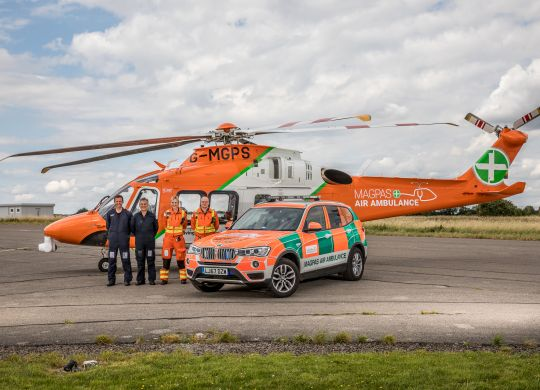 The Magpas Air Ambulance team and vehicles today