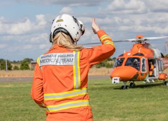 Dr Adriana gives the thumbs up to the rest of the Magpas TeamLOWRES